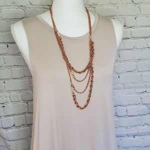 J Crew Rosegold Long Layered Necklace